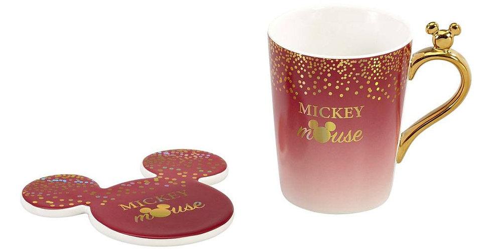 Ensemble tasse et sous-verre - Mickey Glitter