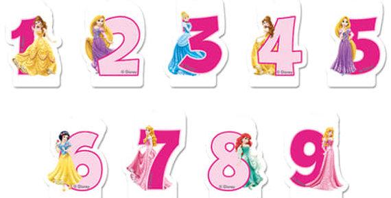 Bougie d'anniversaire - Princesses