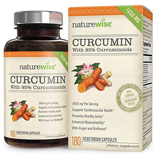 NatureWise ORGANIC Curcumin Tumeric 1650mg with 95% Curcuminoids, 180 Ct