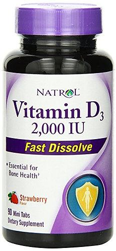 Natrol Vitamin D3 2000iu Mini Tabs, Strawberry