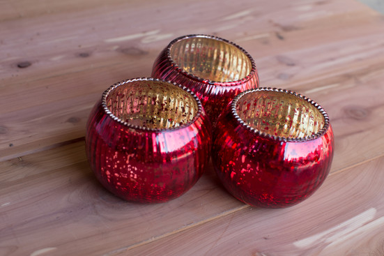 Red & Gold Votive Holders