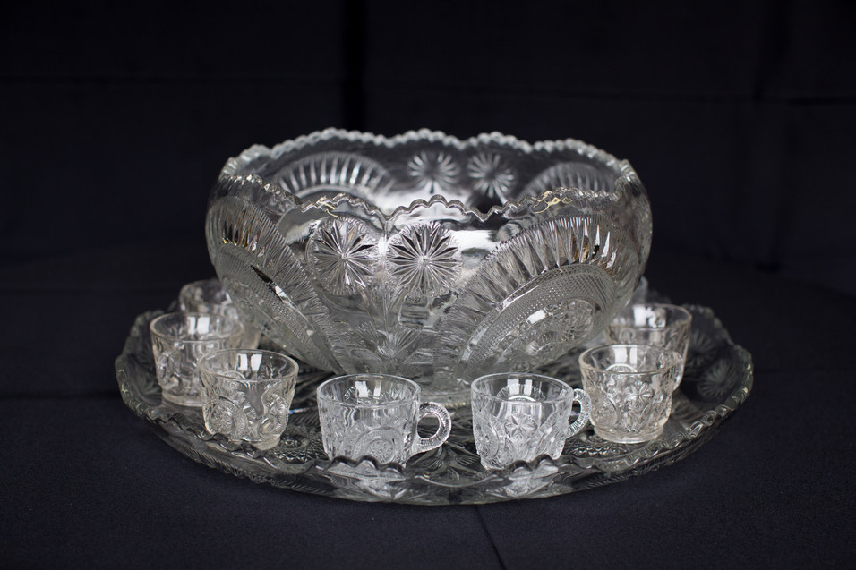 Large Punch Bowl & Glasses