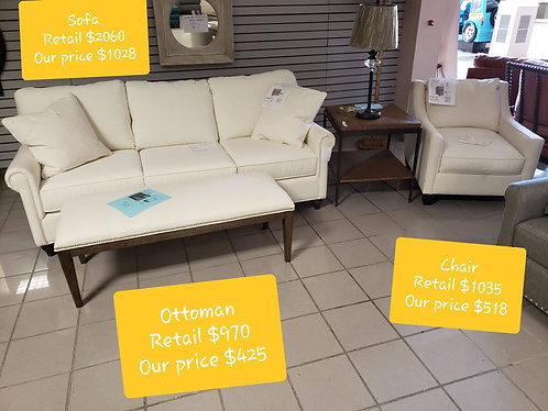 White Bassett Sofa & Chair Set