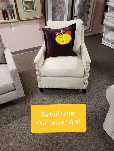 White Nailhead Bassett Chair