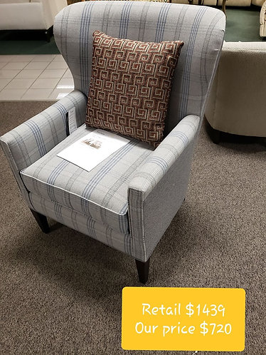 Gray Patterned Bassett Chair