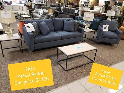 Blue Bassett Sofa & Chair