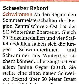 RZO Sommermeisterschaften: Schweizer Rekord