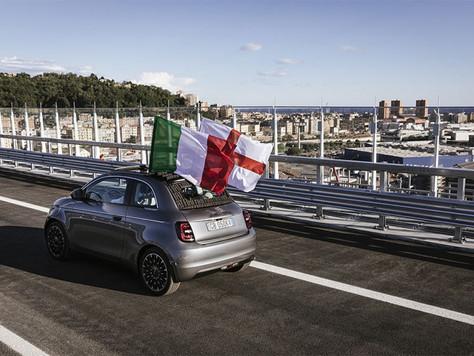 Der neue Fiat 500 überquert die neue Genua-San-Giorgio-Brücke