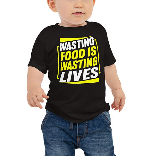 wasting food is wasting lives typo Baby tshirt - Zero Waste collection 10