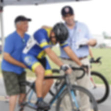 A cyclist is set to start a time trial in Oklahoma