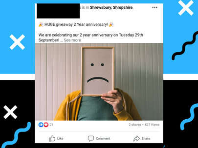 Small business Facebook advert targeting example & explanation