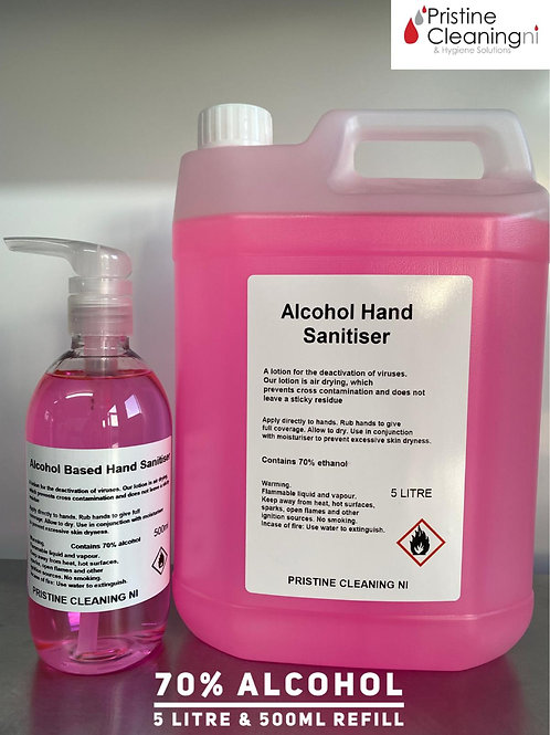 Alcohol Based Hand Sanitiser 5 Litre & 500ml Refill Pump