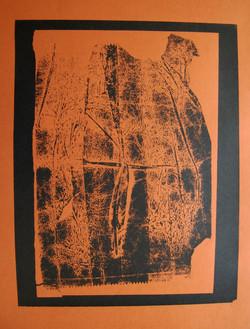 concealment (wrap) - black on terracotta card - screenprint