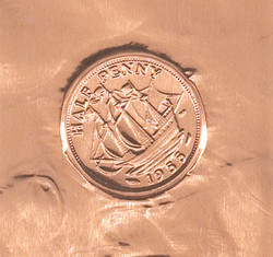 detail - impressions (coins) - copper foil