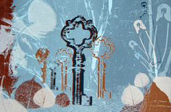 detail - lost & found- screenprint on blue