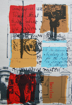 detail - the letter part 3 - screenprint on grey paper