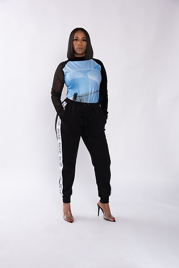 Signature 2ND ST. top with velvet sleeve