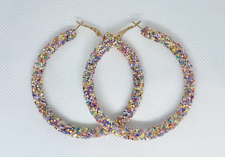 Pastel Colorful Confetti Large Hoops
