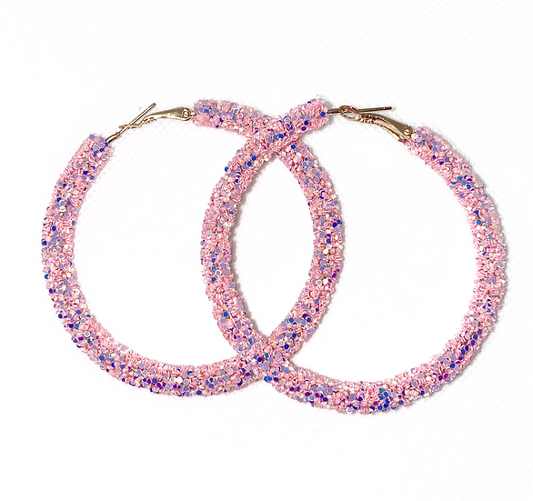 Pink Confetti Large Hoops
