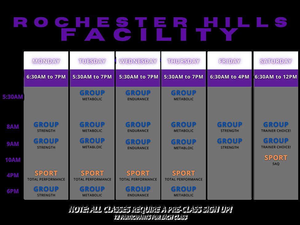 LF Rochester Hills Schedule