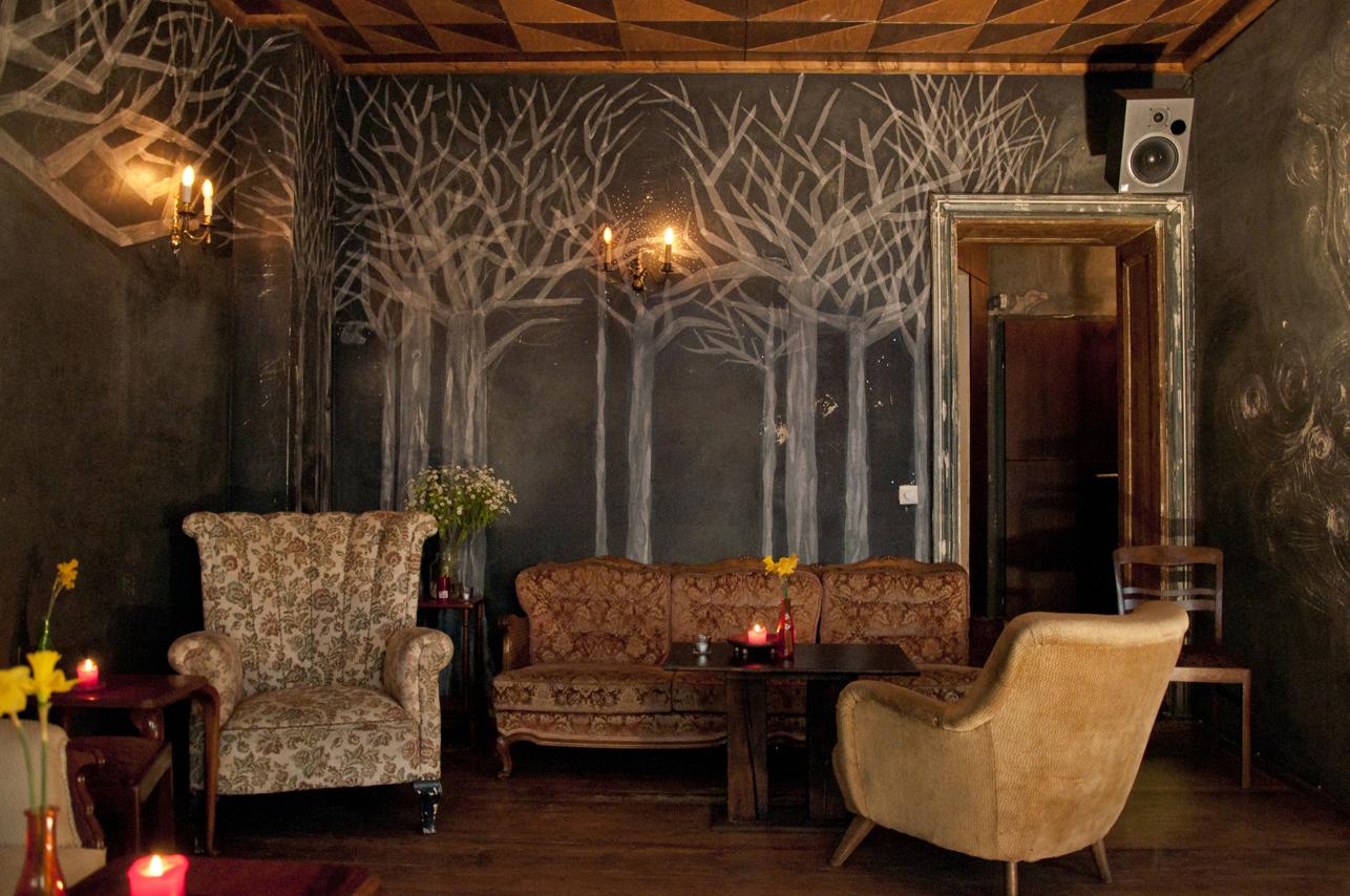 Wandcollage Papierbäume