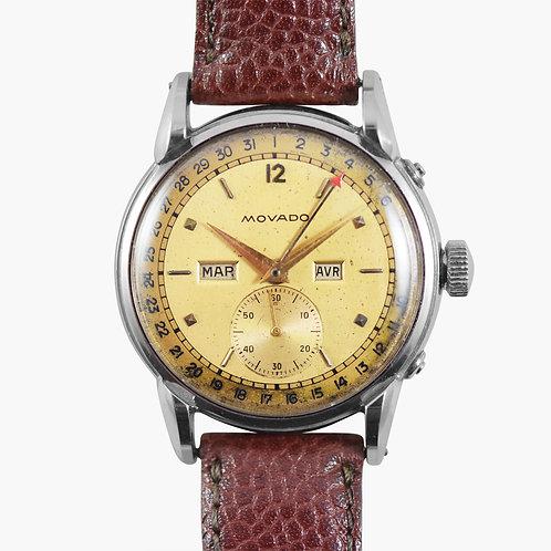 1940s Movado Triple Calendar Salmon Dial