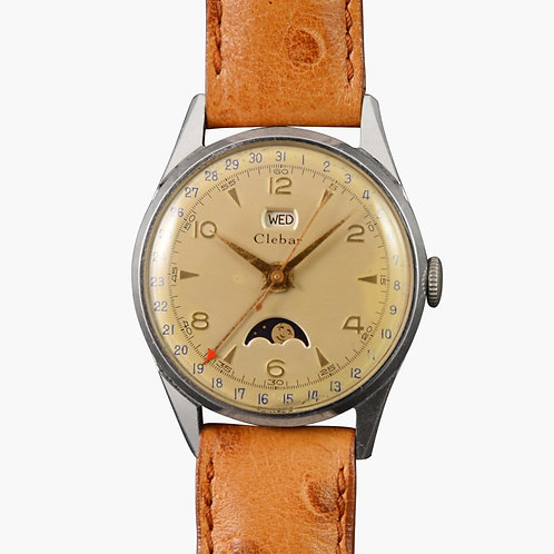 1950s Clebar Moonphase Wristwatch