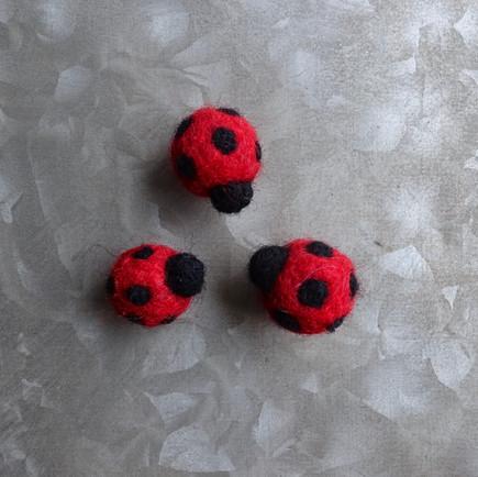 Felted Ladybug Magnets