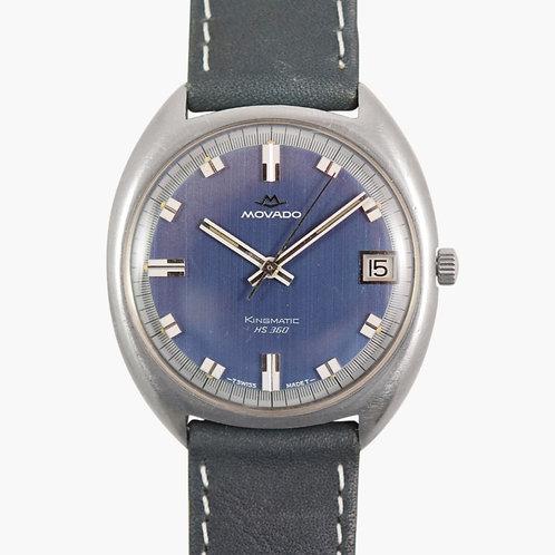 1970s Movado Brushed Blue Hs360