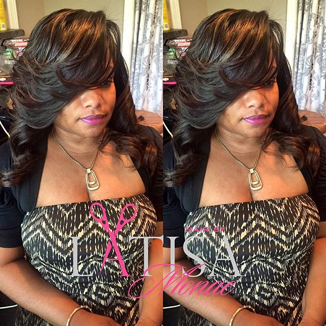 Partial sew in with a deep side part . Make your appointments today www.hairbylatisamonae