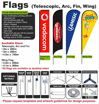 Flags (Telescopic, Arc, Fin, Wing)