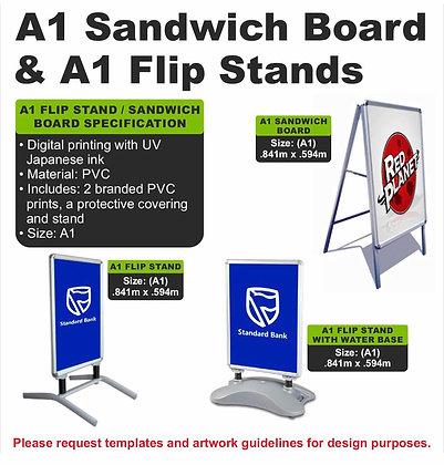 A1 Sandwich Board & A1 Flip Stands