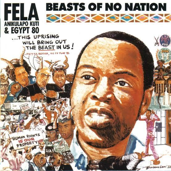 Capa do  álbum antiapartheid,  Beasts Of No Nation,  lançado em 1989