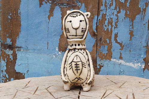 человек с рыбой. духовая керамика.