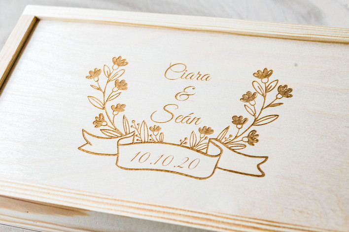 Rustic wedding photography packaging