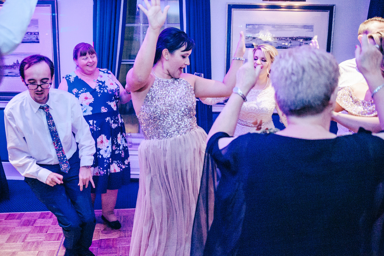Fun dancing photo at wedding reception Chesterfield Hotel London