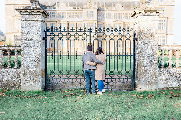 Natural engagement shoot for couple at Montacute House in Yeovil, Somerset
