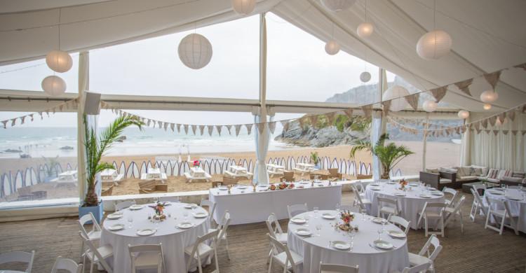 Lusty Glaze beach wedding venue Cornwall