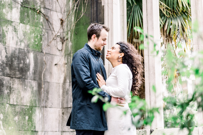 Romantic engagement photography at St Dunstan in the East London