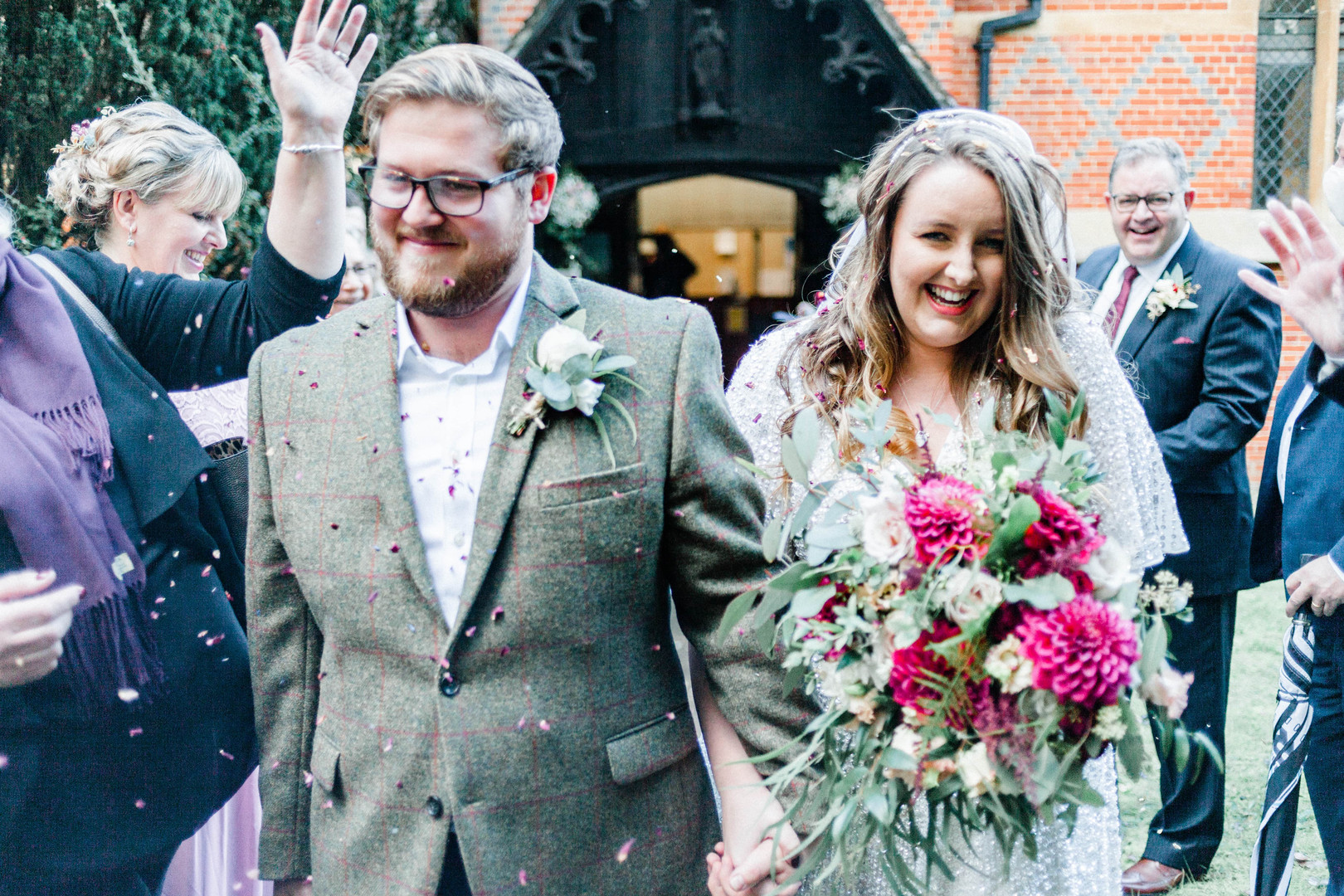 Confetti exit at Berkshire autumn church wedding photography