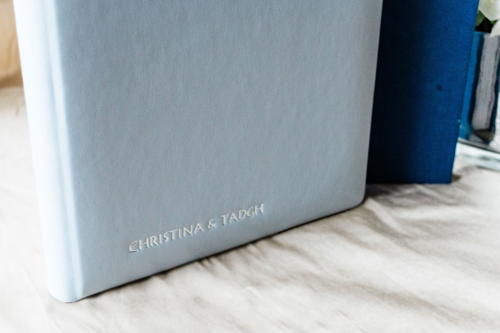 Wedding albums with silver embossing