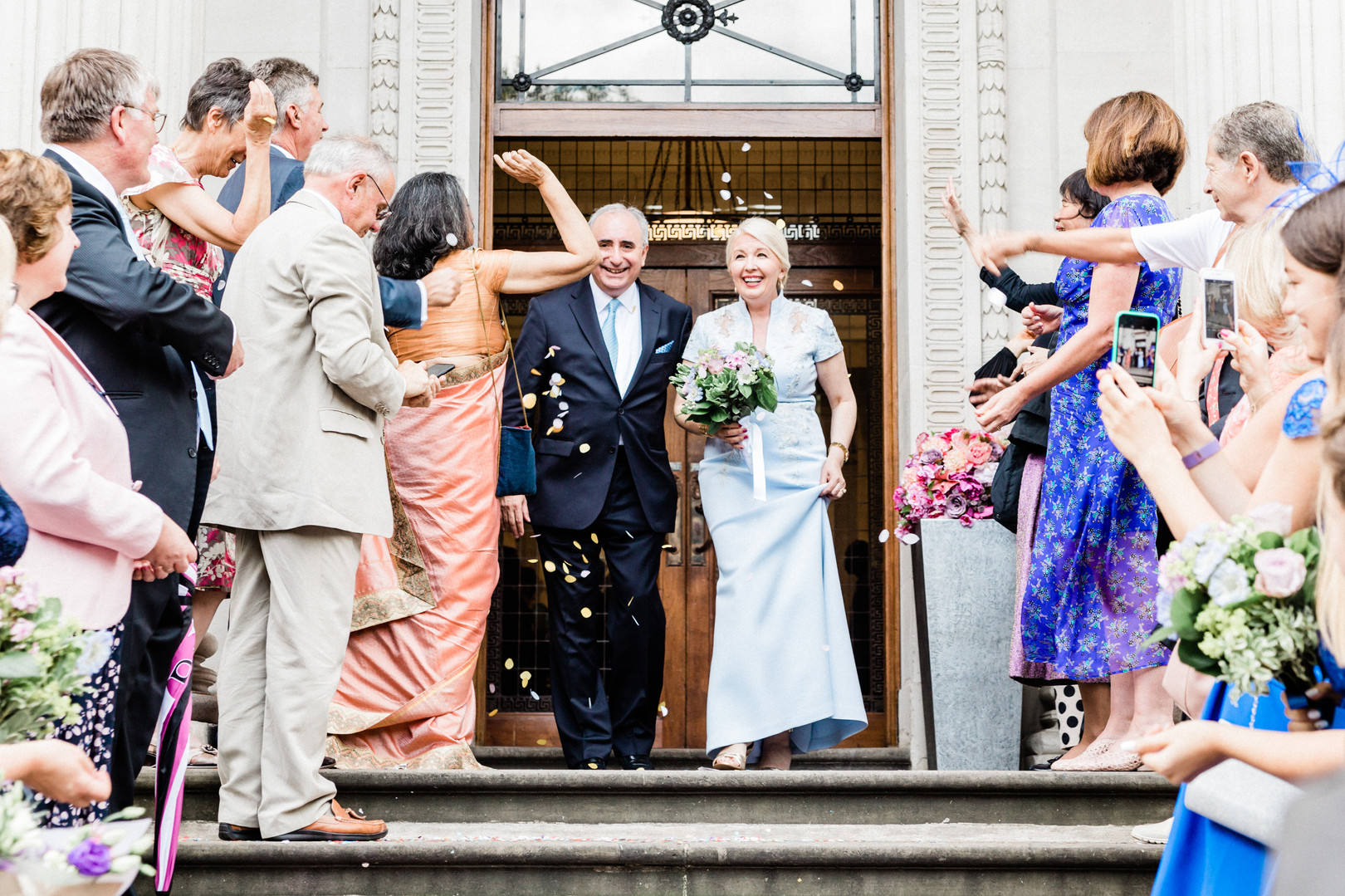 Old Marylebone Town Hall wedding with confetti exit