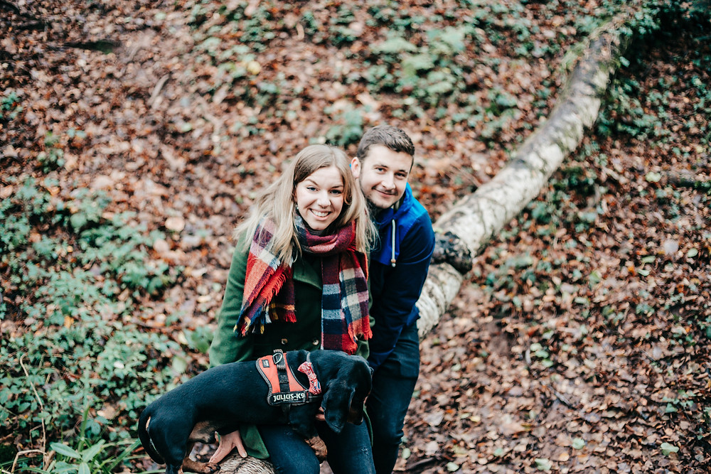 Natural engagement photography in Bristol. Leigh Woods engagement shoot couple. Bristol wedding photographer.