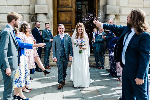 Bath Guidhall in Somerset natural wedding photo of confetti exit