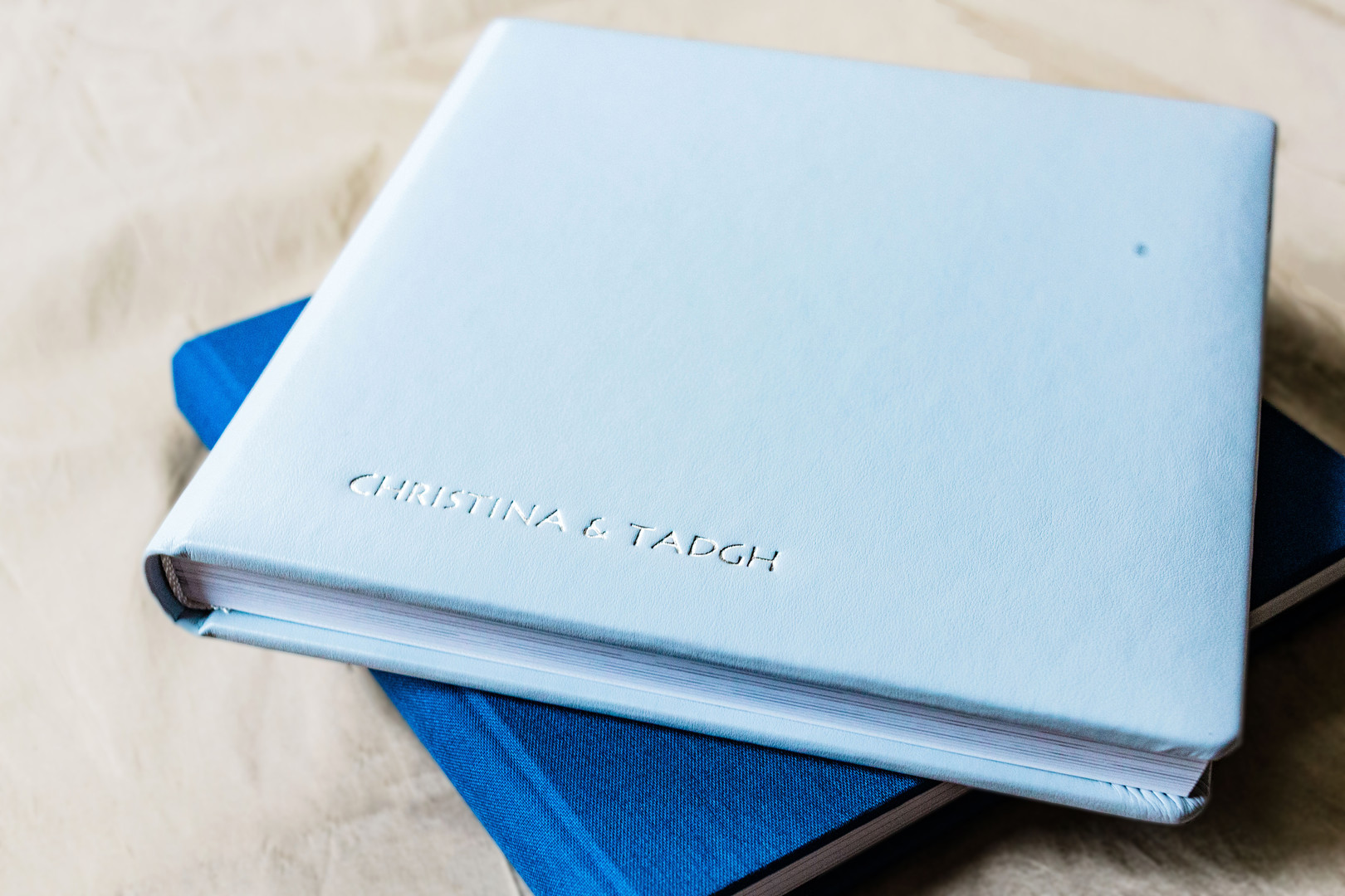Blue leather layflat photo album