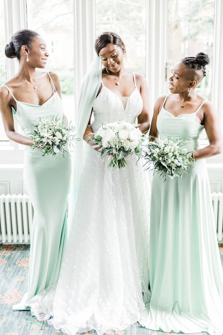 Bride and bridesmaids at Warren House wedding