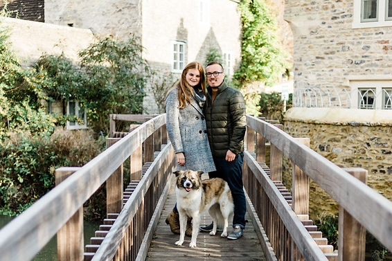 Engagement shoot with dog at Nunney Castle in Frome, Somerset