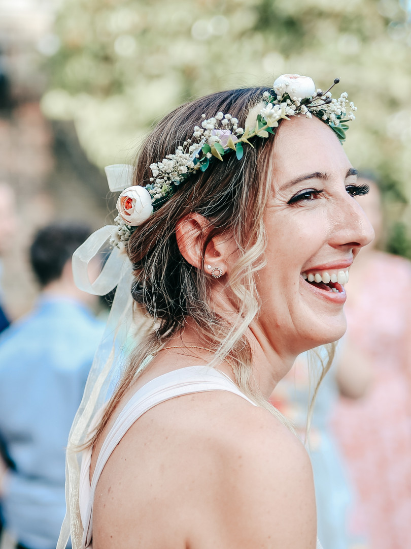 Laughing bride at York House, Twickenham, captured for a natural wedding photograph