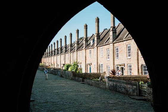 Vicar's Close in Wells, Somerset. Shot by a Somerset wedding photgrapher