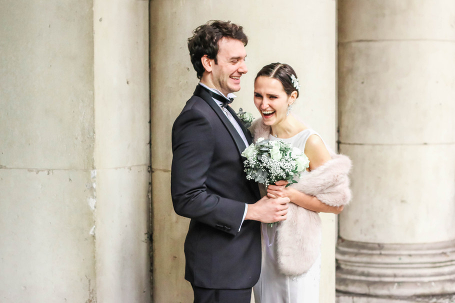 Documentary wedding photography shot of bride and groom in London